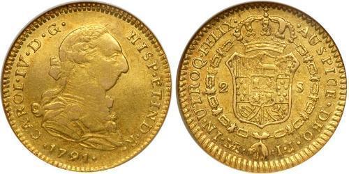 2 Ескудо Іспанія Золото Карл IV король Іспанії  (1748-1819)