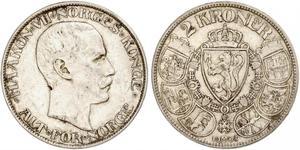 2 Крона Норвегія (1905 - ) Срібло Хокон VII (1872 - 1957)