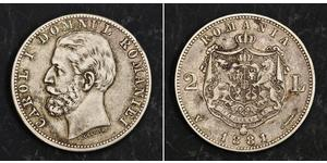 2 Лей Королевство Румыния (1881-1947) Серебро Кароль I (1839 - 1914)
