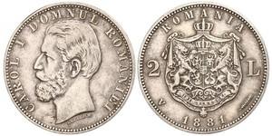 2 Лей Королівство Румунія (1881-1947) Срібло Carol I of Romania (1839 - 1914)