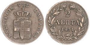 2 Лепта Королівство Греція (1832-1924) Мідь Оттон I (король Греції) (1815 - 1867)