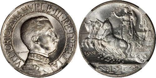 2 Ліра Kingdom of Italy (1861-1946) Срібло Виктор Эммануил III (1869 - 1947)