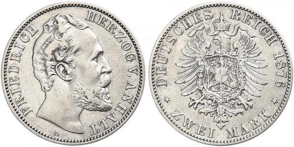 2 Марка Ангальт-Дессау (1603 -1863) / Анхальт (1806 - 1918) Серебро Frederick I, Duke of Anhalt (1831-1904)