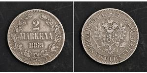 2 Марка Великое княжество Финляндское (1809 - 1917) Серебро Александр III (1845 -1894)