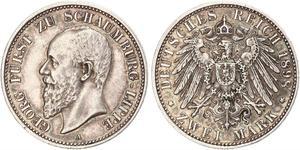 2 Марка Липпе-Детмольд (1123 - 1918) Серебро Георг (князь Шаумбург-Липпе)