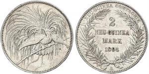 2 Марка Новая Гвинея Серебро