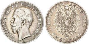 2 Марка Рейсс (старшей линии) (1778 - 1918) Серебро Heinrich XIV, Prince Reuss Younger Line
