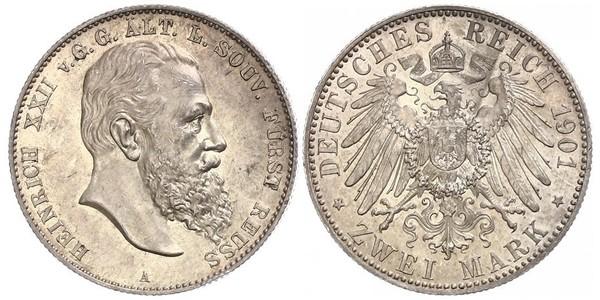 2 Марка Рейсс (старшей линии) (1778 - 1918) Серебро Heinrich XXII (1859 - 1902)