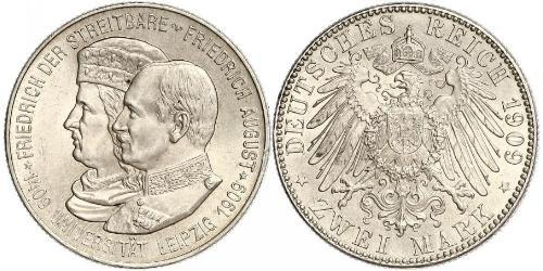 2 Марка Саксония (королевство) (1806 - 1918) Серебро Фридрих Август III (король Саксонии) (1865-1932)