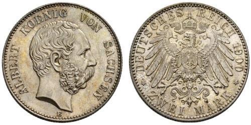2 Марка Саксония (королевство) (1806 - 1918) Серебро Альберт (король Саксонии)