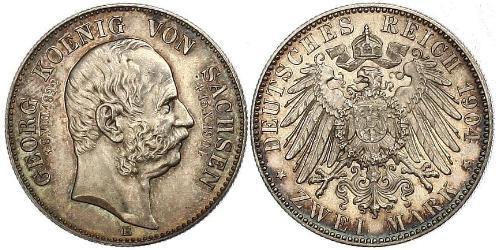 2 Марка Саксония (королевство) (1806 - 1918) Серебро Георг (король Саксонии)