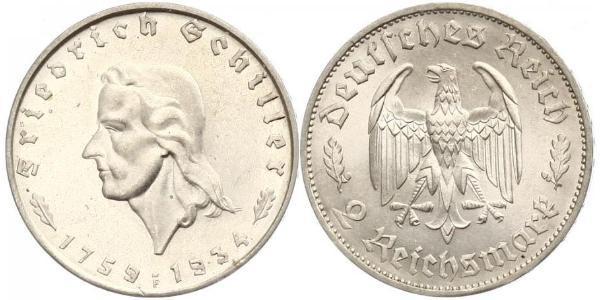 2 Марка Третий рейх (1933-1945) Серебро