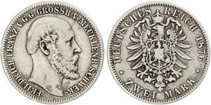 2 Марка Duchy of Mecklenburg-Schwerin (1352-1918) Серебро Фридрих Франц II (великий герцог Мекленбург-Шверина)