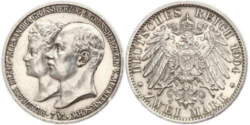 2 Марка Duchy of Mecklenburg-Schwerin (1352-1918) Серебро Frederick Francis IV, Grand Duke of Mecklenburg (1882 - 1945)