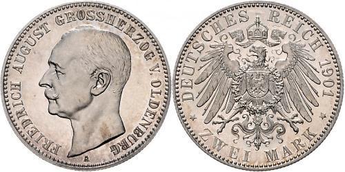 2 Марка Grand Duchy of Oldenburg (1814 - 1918) Серебро Фридрих Август III (король Саксонии) (1865-1932)