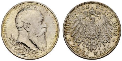 2 Марка Велике герцогство Баден (1806-1918) Срібло Frederick I, Grand Duke of Baden (1826 - 1907)