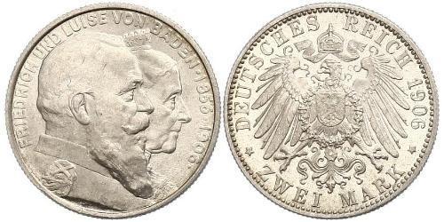 2 Марка Велике герцогство Баден (1806-1918) Срібло