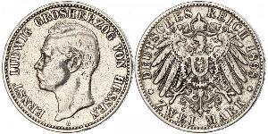 2 Марка Великое герцогство Гессен (1806 - 1918) Срібло Ernest Louis, Grand Duke of Hesse (1868 - 1937)