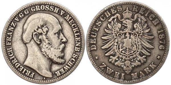 2 Марка Герцогство Мекленбург-Шверин (1352-1918) Срібло Фрідріх Франц II (великий герцог Мекленбург-Шверінський)
