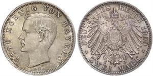 2 Марка Королівство Баварія (1806 - 1918) Срібло Otto of Bavaria (1848 – 1916)
