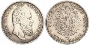 2 Марка Королівство Вюртемберг Срібло Charles I of Württemberg