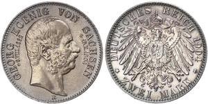 2 Марка Королівство Саксонія (1806 - 1918) Срібло George, King of Saxony