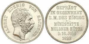 2 Марка Королівство Саксонія (1806 - 1918) Срібло Albert of Saxony