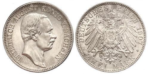 2 Марка Королівство Саксонія (1806 - 1918) Срібло Frederick Augustus III of Saxony (1865-1932)