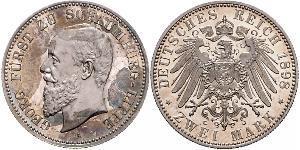 2 Марка Липпе-Детмольд (1123 - 1918) Срібло Георг (князь Шаумбург-Ліппе)