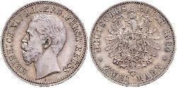 2 Марка Principality of Reuss-Greiz (1778 - 1918) Срібло Heinrich XIV, Prince Reuss Younger Line