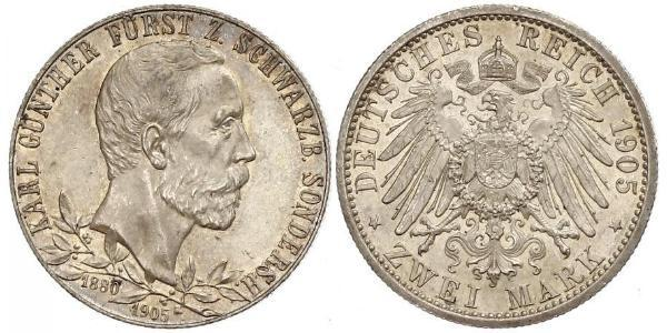 2 Марка Schwarzburg-Sondershausen (1599-1920) Срібло