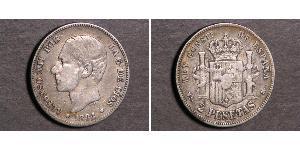 2 Песета Королівство Іспанія (1874 - 1931) Срібло Alfonso XII of Spain (1857 -1885)