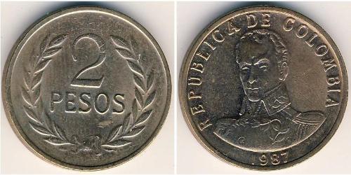 2 Песо Республика Kолумбия Бронза
