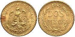 2 Песо Соединённые Штаты Мексики (1867 - ) Золото