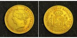 2 Песо Філіппіни / Королівство Іспанія (1814 - 1873) Золото Isabella II of Spain (1830- 1904)