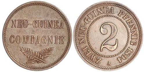2 Пфенниг Германская империя (1871-1918) / Новая Гвинея Медь