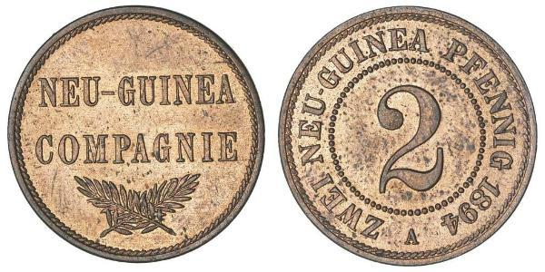 2 Пфеніг Німецька імперія (1871-1918) / Нова Гвінея Мідь