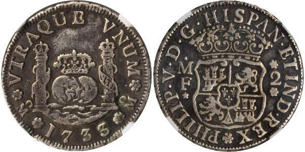 2 Реал Нова Іспанія (1519 - 1821) Срібло Філіп V король Іспанії  (1683-1746)