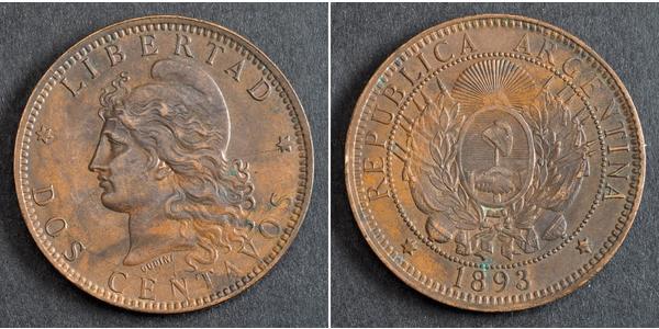 2 Сентаво Республіка Аргентина (1861 - ) Мідь