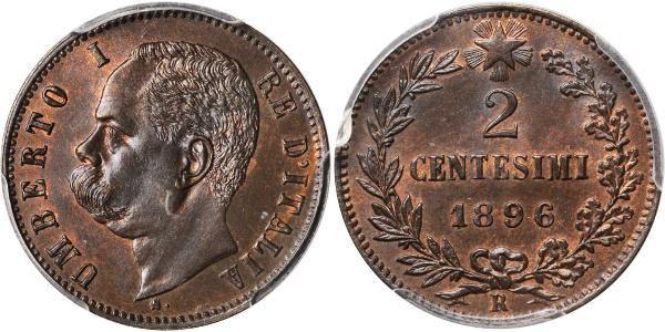 2 Сентесімо Kingdom of Italy (1861-1946) Мідь Умберто I (1844-1900)