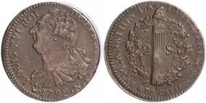 2 Соль Королевство Франция (843-1791) Бронза Людовик XVI (1754 - 1793)
