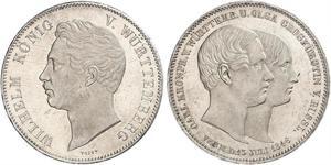 2 Талер Королевство Вюртемберг (1806-1918) Серебро Вильгельм I (король Вюртемберга)