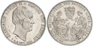 2 Талер Саксония (королевство) (1806 - 1918) Серебро Фридрих Август II (король Саксонии)