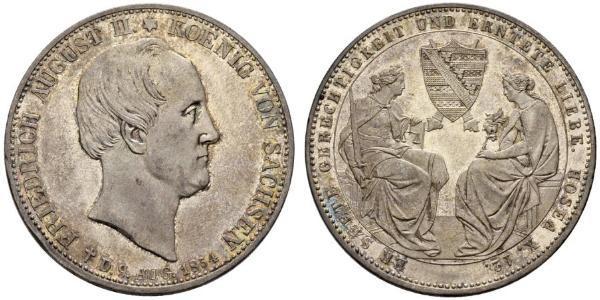2 Талер Королівство Саксонія (1806 - 1918) Срібло Фрідріх Август II (король Саксонії)