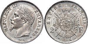 2 Франк Вторая французская империя (1852-1870) Серебро Наполеон III Бонапарт (1808-1873)