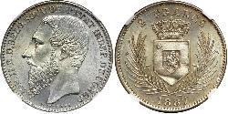 2 Франк Свободное государство Конго (1885 - 1908) Серебро Леопольд II (1835 - 1909)