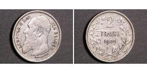2 Франк Бельгія Срібло Леопольд II (1835 - 1909)