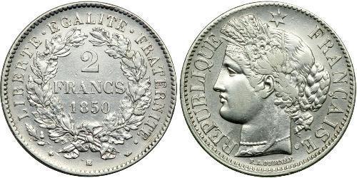 2 Франк French Second Republic (1848-1852) Срібло
