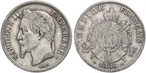 2 Франк Second French Empire (1852-1870) Срібло Наполеон ІІІ Бонапарт (1808-1873)