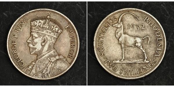 2 Шилінг Південна Родезія (1923-1980) Срібло Георг V (1865-1936)